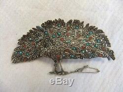 Vintage Silver, Marcasite & Paste Peacock Brooch TM & co 1920-35