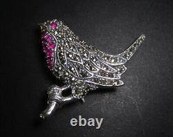 Vintage Silver Stamped 925 Marcasite & Ruby Gemstone Bird Robin Brooch Pin