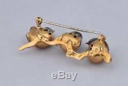 Vintage Solid 18K Yellow Gold Pin/Brooch with 3 Birds Colored Enamel NICE