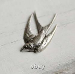 Vintage Solid 925 Sterling Silver Antique Swallow Bird Awesome Excellent Brooch