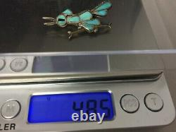 Vintage Southwestern Sterling Silver Turquoise Running Bird Pin Brooch