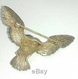 Vintage Sterling 925 Vermeil Bald Eagle with Gem in beak pin Brooch FM 1/2 oz