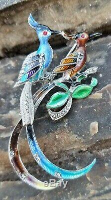 Vintage Sterling Germany EB Brooch Birds of Paradise Enamel Marcasite Exquisite