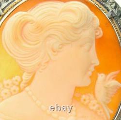 Vintage Sterling Marcasite Cameo Bird Pin Brooch Pendant