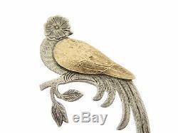 Vintage Sterling Silver 900 Gold Brooch Pin Paradise Bird handmade Guatemala
