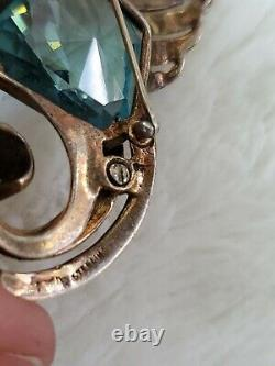 Vintage Sterling Silver Bird Brooch Crystal Jelly Belly Center