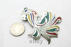 Vintage Sterling Silver Bird Brooch Taxco Two Trees Mark Enamel & Gemstone Inlay