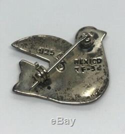 Vintage Sterling Silver Brooch Pin 925 TF 32 Mexico Taxco Enamel Bird Dove