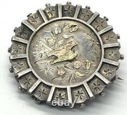 Vintage Sterling Silver Brooch Pin Antique C Clasp Etched Birds Nature Detailed