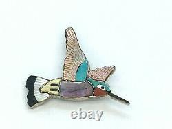 Vintage Sterling Silver Carved Stone Inlay Zuni Hummingbird Bird Brooch Pendant