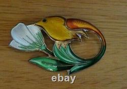 Vintage Sterling Silver Enamel Hummingbird Bird Brooch David Andersen Norway