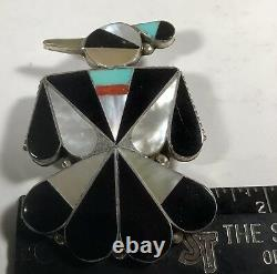 Vintage Sterling Silver Inlayed Thunder Bird Pendant / Brooch. By Zuni Artist