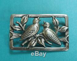 Vintage Sterling Silver Love Birds Pin Signed Sterling Craft by Coro Brooch