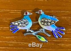 Vintage Sterling Silver Love Birds Pin or Brooch By Alice Caviness