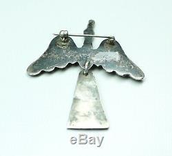 Vintage Sterling Silver Peyote Bird Brooch Articulating Tail 2.25 South West