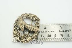 Vintage Sterling Silver Scottish Thistle Bird Pin Brooch