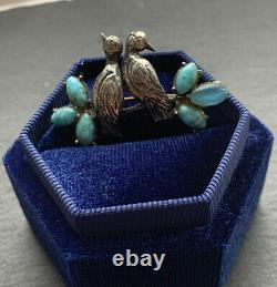 Vintage Sterling Silver Turquoise Live Birds Brooch