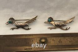 Vintage Sterling Silver Turquoise Navajo Roadrunner Bird Pin Brooch Lot 2 Harvey