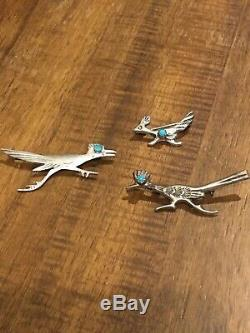 Vintage Sterling Silver Turquoise Navajo Roadrunner Bird Pin Brooch Lot of 3