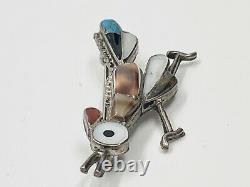 Vintage Sterling Silver Zuni Inlay Multi Stone Roadrunner Bird Pin Brooch