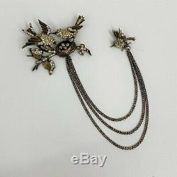 Vintage Sterling Swag Pin Brooch 3 Birds Nest With 4 Eggs Rare Style