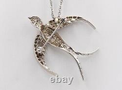 Vintage Swallow Bird Diamonds 14K White Gold Pendant Brooch Pin