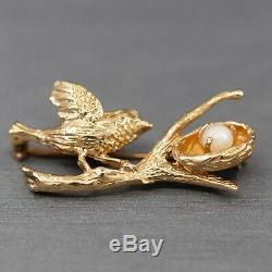 Vintage Sweet Bird and Pearl Nest Brooch in Solid 14k Yellow Gold