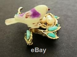 Vintage Swoboda Signed Brooch Pin Birds Nest Gold Tone 3 Pearl Eggs Turquoise