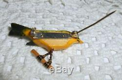 Vintage TAKAHASHI BIRD Brooch Pin Carved Wood Lacquer Green Yellow Push Pins A85