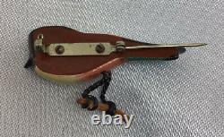 Vintage TAKAHASHI Hand Painted Wood Bird Pin Brooch Beautiful