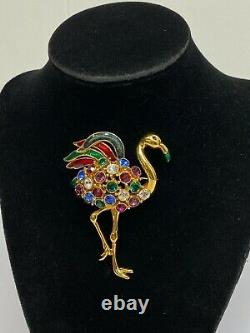 Vintage TRIFARI 1980s Multicolor Red Blue Rhinestones Flamingo Bird Pin Brooch