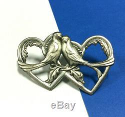 Vintage TRUART Sterling Silver Love Birds Victorian HEART Brooch Pin 8g AA120i