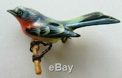 Vintage Takahashi Blue Bird Red Breast Bright Hand Painted Wood Brooch Push Pins
