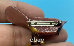 Vintage Takahashi Carved Wood Cardinal Bird Pin Brooch
