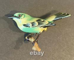 Vintage Takahashi Green Yellow Bird Hand Painted Carved Wood Pin Brooch Tiny