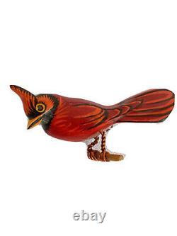 Vintage Takahashi Red Cardinal Bird Brooch Pin