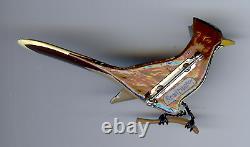 Vintage Takahashi Style Carved Painted Wood Roadrunner Bird Pin Brooch