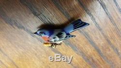 Vintage Takahashi blue bird pin brooch