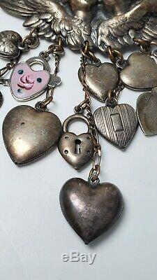 Vintage Top Shelf Silver Tone Brooch AB Dangle Puffy Hearts Birds Angels Cherubs