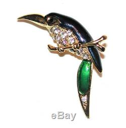 Vintage Toucan Bird Brooch Blue Green Enamel Wings Crystals Pin Sphinx Elegant