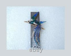 Vintage Trifari Enamel Bird Of Paradise Brooch Rare 1960's Large Pin