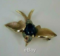 Vintage Trifari Rhinestone Swallow Bird Sapphire Blue Jelly Belly Figural Brooch