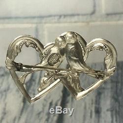 Vintage Truart Heart Love Birds Sterling Silver 925 Brooch Pin