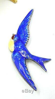 Vintage Truart sterling silver blue enamel bird swallow pin/brooch 3 ¼ x 1 1/8