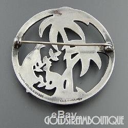 Vintage Uncas Made In USA Sterling Silver Enamel Marcasite Heaven Birds Brooch