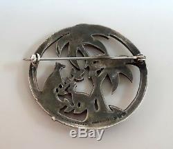 Vintage Uncas USA Art Deco Sterling Silver Enamel Marcasite Heaven Birds Brooch