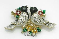 Vintage Unsigned CORO Brooch Rhinestone Enamel Love Birds on a Branch Pin