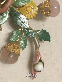 Vintage Unsigned Enamel Colorful Birds Nest Leaf Trembler Tree Pin Brooch