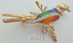 Vintage Unsigned Hattie Carnegie Lucite Rhinestone Bird of Paradise Brooch Pin