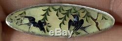 Vintage Victorian Pietra Dura Sterling Silver Pin Brooch Birds Trees